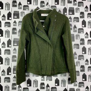 Anthropologie Sparrow | Green Wool Moto Sweater